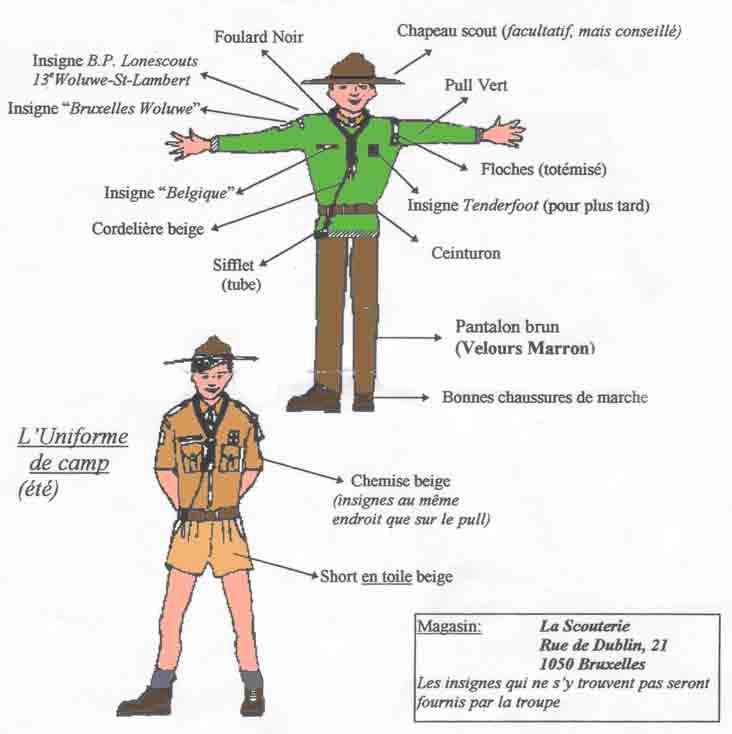 Chemise scoute beige : Uniforme scout 12,50